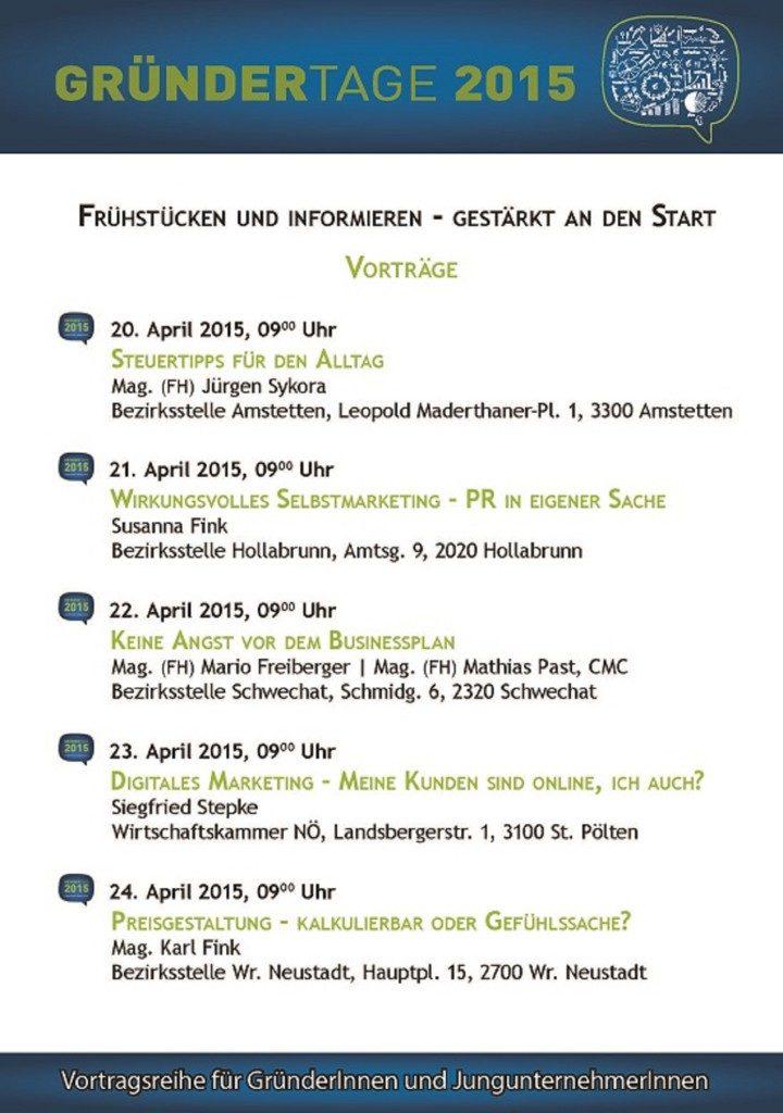 Veranstaltungsplakat der Gründertage 2015